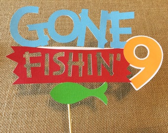 Fishing Cake Topper, Gone Fishing Cake Topper- The Big One - Birthday Cake Topper
