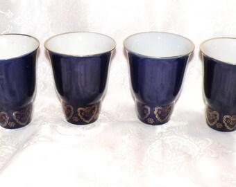 Vintage porcelain tumblers. Set of 6 Soviet cobalt blue porcelain tumblers. Russian cobalt blue porcelain. Retro porcelain glasses. For her.