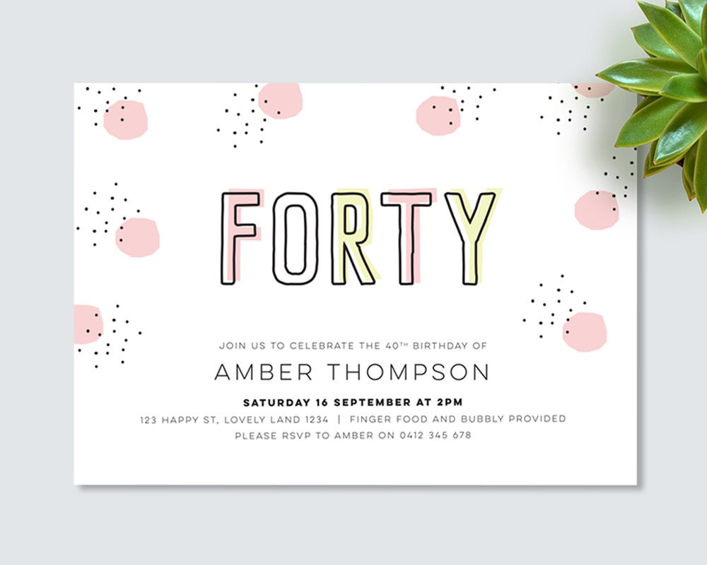 40th birthday invitation for you to print yourself! black and pink ...