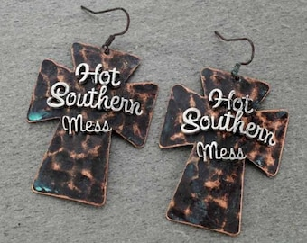 Hot Southern Mess Cross Earrings