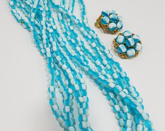 Beautiful Two Tone Glass Bead Multi-Strand Necklace (Blue/White) with Matching Clip Earrings
