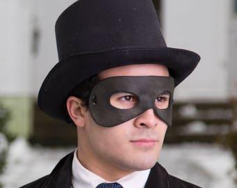 Black Leather Masquerade Domino Mask