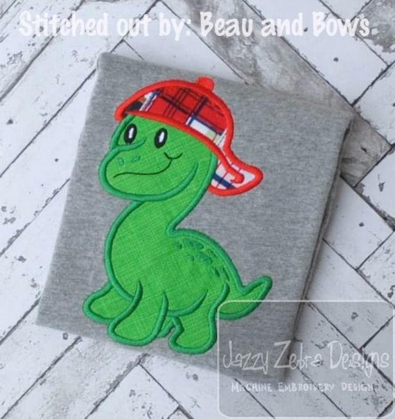 Dinosaur wearing baseball cap Appliqué embroidery design - Dinosaur applique design - dino appliqué design