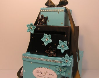 Wedding Card Box Blue and Cocolate Brown Gift Card Box Money Box  Holder--Customize your color