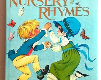 Vintage children's book, Vintage Nursery Rhymes book, New baby gift, It's a boy Rare vintage book, vintage nursery decor, book illustrations