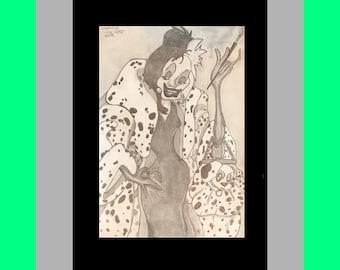 Original Art Print Cruella