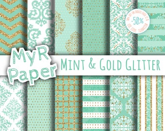 "Glitter digital paper: ""Mint & Gold Glitter"" dots, damask, chevron, squares, stripes. Digital scrapbooking"