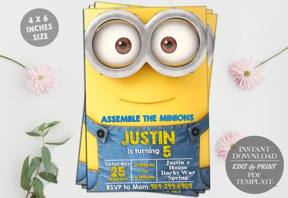 Minion Editable Birthday Invitation Template DIY Printable - Minions birthday invitation template