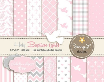50% OFF Girl Baptism Digital Papers, First Communion Digital Scrapbooking Paper, Christening Digital Paper, Girl Baptismal, Dedication, Holy