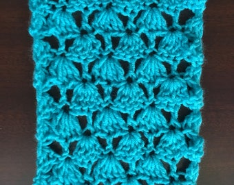 Turquoise crochet scarf