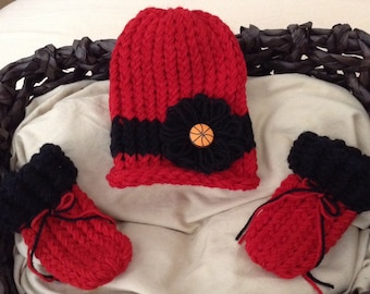 Basketball baby girl hat,Chicago Bulls Baby Girl basketball hat,basketball knit baby girl hat & booties set,Basketball Flower hat,Newborn