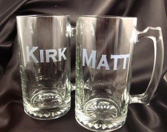 Set of 3 - Custom Etched MEGA Beer Mugs