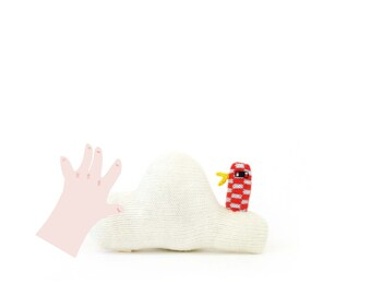 Cloud Baby Rattle - soft knitted baby toy, new baby gift, baby shower gift