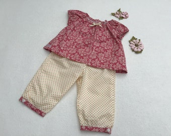 Baby Girls Top and Cuffed Trousers, floral, pink pin spot, occasion, peasant style, 6m-2yrs