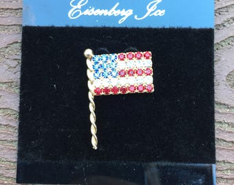 Vintage Jewelry Signed Eisenberg Ice American Flag Patriotic Pin Brooch New on Card