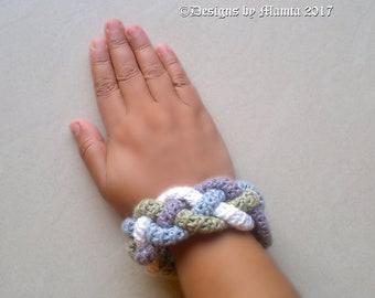 Four Braided Crochet Cuff Bracelet Pattern, Easy Crochet Jewelry Pattern, Bohemian Hippie Gypsy Jewelry, Crochet Bangle, Statement Jewellery