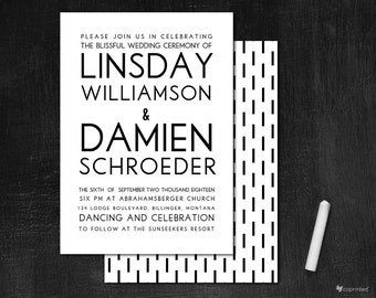 Poster Wedding Invitation - modern, simple, typography, letters, bold, wedding, invitation, template, clean, monochrome, formal, template