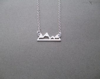 Mountains Charm Necklace - Silver