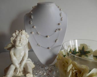 Elegant wedding necklace ivory pearls