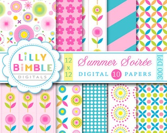 Modern Floral digital scrapbook papers in hot pink, teal, blue, yellow, flowers,  Instant Download paper Summer Soiree