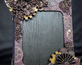 Steampunk mixed media wooden hinged book box frame