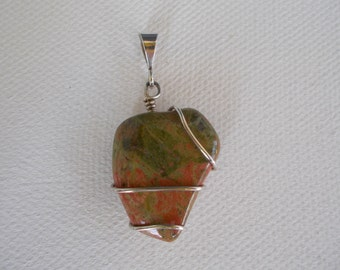 Unakite Pendant, Sterling Silver Wrapped