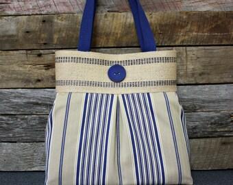 Blue and Tan Stripes Handbag / Purse with Jute Webbing Band / READY TO SHIP