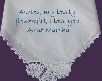 Mid-Century Antique Lace Flower Girl-Custom Bridal Hankerchiefs, Monogrammed, Gift Envelop, For Mothers and the beautiful ladies