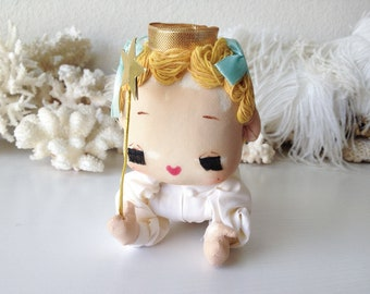 Vintage pose doll angel baby retro Japan blond fairy stockinette pixie netting wings Christmas decoration