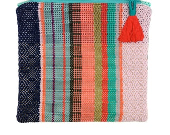 Gwyneth | Woven Coral Striped Foldover Clutch | Handwoven Boho Envelope Clutch | Modern Chic Fold Over Purse | Woven Evening Bag with Tassel