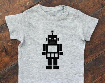 Robot motif short sleeve tee