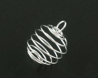 10 Bead Cage Pendant Charm Silver Plated Spiral with Loop 25x20mm C410