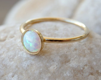 Opal Gold Ring, White Opal Ring, Minimalist Ring, October Birthstone, Opal White Gold Filled Ring, White Opal jewelry, Opal Feminine Ring
