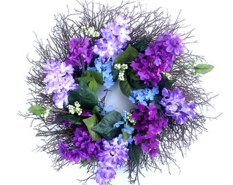 Small Spring wreath for front door, Small Lilacs and berries spring wreath, Spring decor, summer wreath, gift for her, housewarming gift