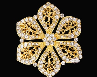 Rhinestone Brooch Pin - Flatback Embellishment - Flatback Broach - Brooch Bouquet - Supply - Flower - Wedding Jewelry Supply - RD234