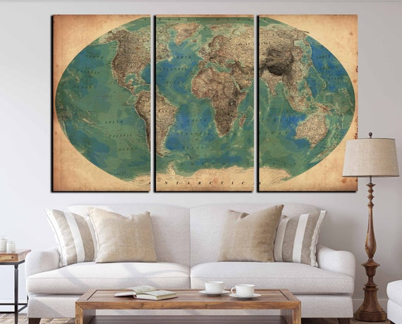Very detailed vintage world map set of 3 canvas print world very detailed vintage world map set of 3 canvas print world map vintage antique world map vintage world map canvas art print old world gumiabroncs Image collections