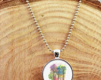 Tree Necklace, Painted Necklace, Tree Pendant, Tree Necklace, Colorful Trees Necklace, Tree Jewelry, watercolor Trees, Nature Necklace