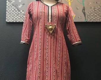 Vintage bohemian indian tunic shirt / dress / kurta.
