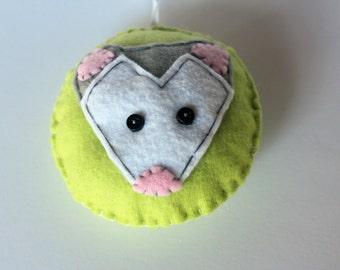 Possum Ornament, Felt Ornament, Animal Ornament, Christmas Felt Ornament, Felt Possum, Keepsake Ornament