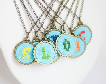 Personalized initial necklace, bright blue fabric i013