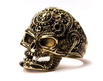 Skull Ring Brass Gothic Tribal Unisex Jewellery  Skull Jewelry Gift Boxed + Gift Bag , Free UK Delivery SK4