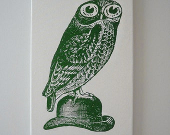 Owl on Bowler Hat silk screened canvas wall hanging 18x12 GREEN