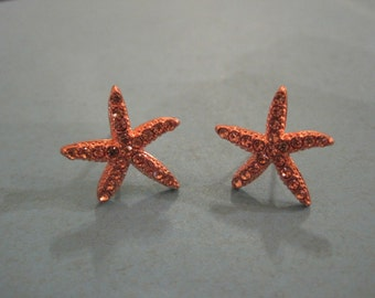 Rose Gold Starfish Earrings - Stud Earrings - Rhinestone Starfish Earrings - Beach Earrings - Beach Wedding - Nautical Jewelry