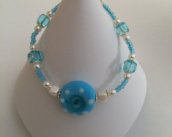 Hand Crafted Blue and Pearl Beaded Bracelet.
