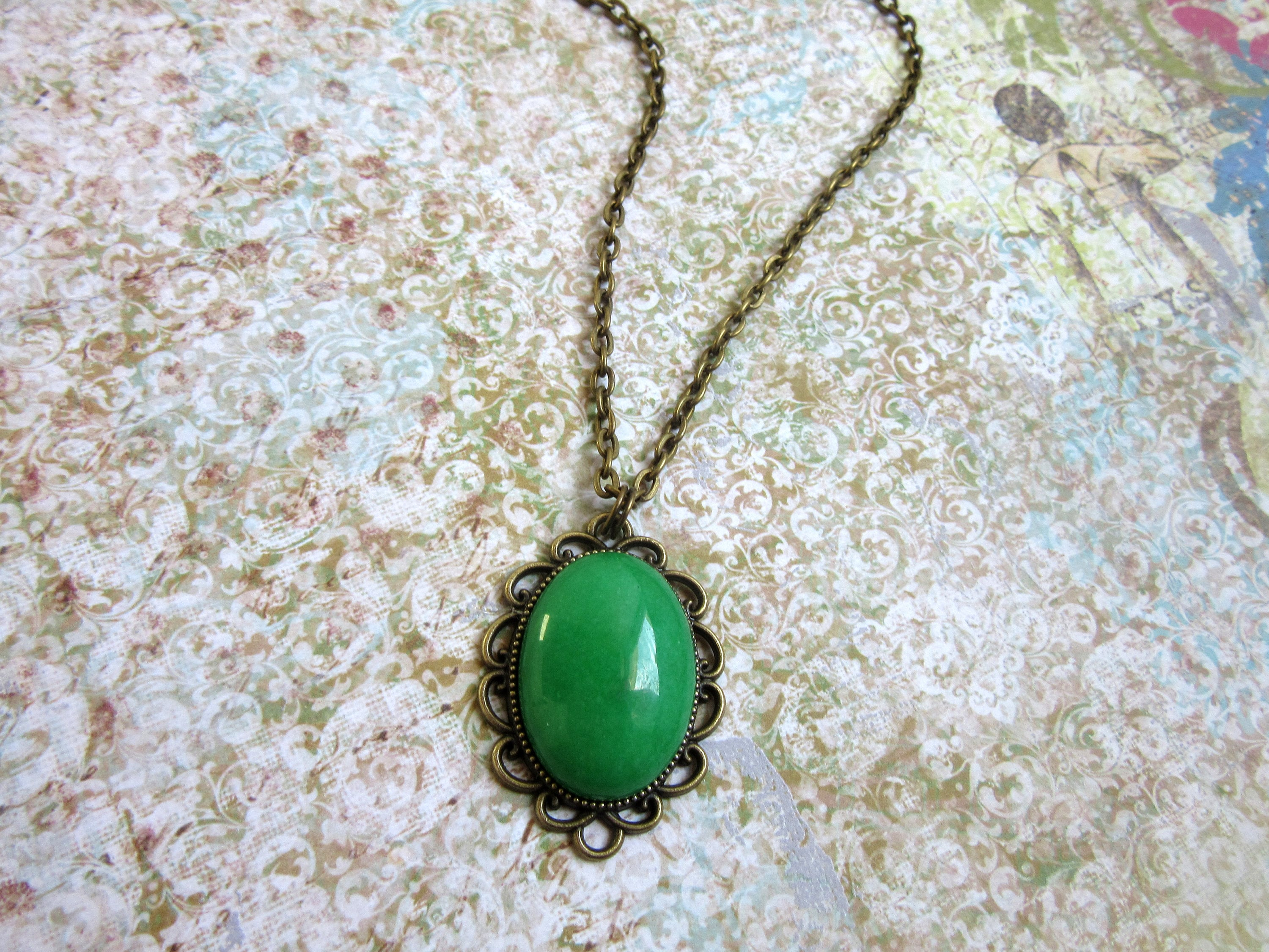 silver pendant sterling green pin jade shaped this rose necklace