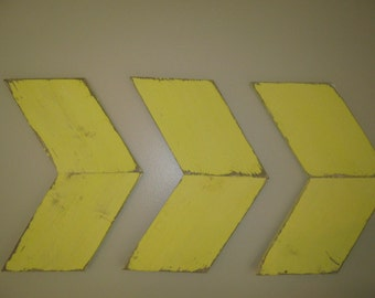 Wall arrows set of 3 rustic yellow distressed handmade