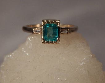 Ladies .61 Ct. Emerald Cut Columbian Emerald and Diamond Baguette Ring 14K Solid Yellow Gold