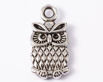 10 Pieces Antique Silver Owl Charms, 15x7mm
