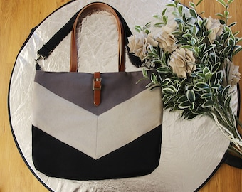 LARGE, Black gray chevron Tote,  Diaper bag, Shoulder bag, Handbag, Work bag.  9 inside pockets. Waterproof poly lining available