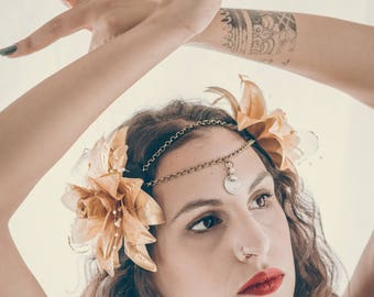 Tribal Fusion headpiece/headdress for wedding/headdress/boho chic/hair accessory/flower headpiece/ethnic headdress/vintage style